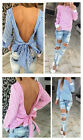 Fashion Lady Summer Long Sleeve BackLess Tops Blouse Women Bow Crew Neck T Shirt