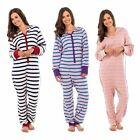 Ladies Soft Cotton Jumpsuit Onezee All In One Piece Hoodie Pyjamas Striped LN576