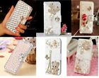 Luxury Bling Crystal Butterfly Wallet PU Leather Case For Samsung Galaxy