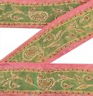 Antique Vintage Saree Border Hand Beaded Craft Trims Lace 1 Yd Pure Silk Lace
