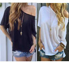 Summer Women Fashion Off Shoulder Casual Tee Loose T-Shirts Summer Blouse Tops