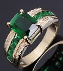 Fashion Size 8,9,10 Man's  Woman's Emerald 18K Gold Filled Wedding Ring Halo CZ