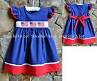 Smocked A Lot Blue Red Dress Stars & Stripes American Flag 4th of July Patriotic