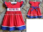 Smocked A Lot Red Blue Dress Stars & Stripes American Flag 4th of July Patriotic