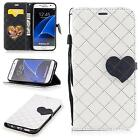 Heart Buckle Hit Color Lattice Folio PU Leather Case With Stand For Samsung