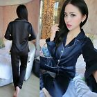 Womens Casual Silk Satin Pajama Long Sleeve Sleepwear Homewear Tops+Pants US
