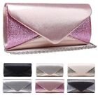 WOMENS NEW GLITTER ENVELOPE CLUTCH BAG SHOULDER PURSE EVENING OCCASION PROM GLAM