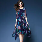 Women's Navy Floral Print Mid Sleeve Thin Casual Midi Maxi Dress Size 10 To 18