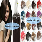 "Easy Loop Micro Ring Beads Tip Remy Human Hair Extensions 16""18""20""22""24""26"" 7A"