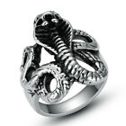 316L Stainless Steel Fashion Silver Mens Women Snake Punk Biker Rings Size 8-12