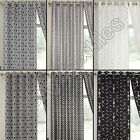GEOMETRIC THERMAL BLACKOUT PAIR OF EYELET READY MADE CURTAINS BLACK WHITE SILVER