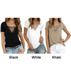 Womens Ladies Casual  V Neck Short Sleeve Blouse Top Summer T-shirt