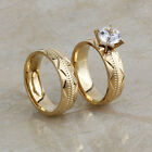 Fashion Stainless Steel CZ Gold Round Engagement Wedding Band Couple Ring Sets