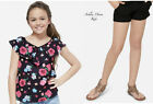 NWT JUSTICE Girls 12 14 Floral Peasant Top & Black Soft Crochet Shorts Outfit
