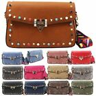 WOMENS NEW STUDDED FAUX LEATHER MULTICOLOUR STRAP CROSSBODY BAG HANDBAG