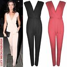 NEW WOMENS V NECK JUMPSUIT CREPE LADIES WRAPOVER LOOK PLEAT TOP BELTED TROUSERS