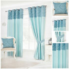 Curtains Ready Made Lined Teal Floral Border Panel Designer Eyelet Stylish