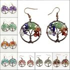 Natural Amethyst Peridot Tourmaline Chip Beads Tree of Life Copper Hook Earrings