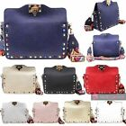 NEW WOMENS STUDDED FAUX LEATHER MULTICOLOUR STRAP METAL LOCK CROSSBODY BAG