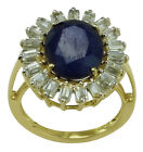 Blue Sapphire 6.97 Ct. Exotic Ring 925 Sterling Silver Authentic Woman Jewelry