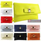 NEW WOMENS FAUX LEATHER BOW EMBELLISHMENT FLAT PARTY CLUTCH BAG HANDBAG
