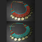 x Vintage Gypsy Tribal Spiral Turquoise Resin Strand Fashion Statement Necklace