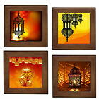 Moroccan Lamps Print Framed Ceramic Tile / Home Decor Plaque / Entry Table Stand