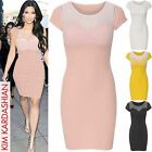 LADIES MESH SWEETHEART TOP DRESS WOMENS CELEB LOOK BODYCON CAP SLEEVE DRESSES