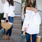 Fashion Women Off Shoulder Solid Tops Back Tie Summer Loose Shirt Casual Blouse