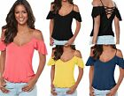 Ladies Crisscross Back Off The Shoulder Gypsy Ruffle Cami Top Plus Size 10-20