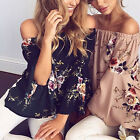 Fashion Womens Summer Loose Casual Off Shoulder Shirt Tops Blouse Ladies Top New