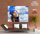 Smiling Girl Geadphones Sky Print POSTER Affiche