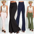Ladies Womens Wide Leg Bell Bottom Palazzo Office Trousers  Flared Pants Legging