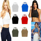 Ladies Womens Celeb Plain Tie Up Halter Neck Tops Sleeveless Crop Cami T-Shits
