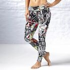 Reebok Studio Womens Yoga Graffiti Collab Gym Dance Leggings XS S M L XL