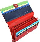 ITALIAN LEATHER Womens Large 12 Card Flap Clutch Purse Wallet Fab Colours PH911