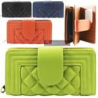 NEW LADIES FAUX LEATHER QUILTED DESIGN COIN POCKET CARD HOLDERS WALLET PURSE