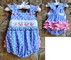 Smocked A Lot Girls Whale Beach Ruffle Butt Short Bubble Pink Aqua Blue Dress