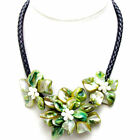 SALE Green Baroque Shell Flower & Pearl pendant Black Rope 18'' Necklace-nec6333