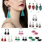 Boho Vintage Charm Bead Tassel Pendant Drop Statement Dangle Women Earrings