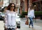 Women Hollow Lace Crochet Flower Blouse Long Sleeve T-Shirt Ladies Tops Shirt