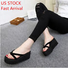Summer Women Beach Wedge Platform Thong Flip Flops Sandals Casual Slippers Shoes