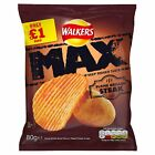 Walkers Max Flame Grilled Steak Crsips 80G £1 PM Packs - 1 Box 12 Packets