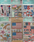 U CHOOSE  Assorted Jolee's PATRIOTIC 3D Stickers fourth of july 4th america use
