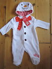 Baby Girls Boys Sleep suit Snowman Baby Grow Velour ex F&F White Christmas