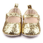 NEW Baby Girls Gold Glitter Sequin Mary Jane Crib Shoes 0-6 6-12 12-18 Months