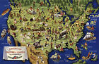 Midcentury Pictorial Map American Folklore and Legends Vintage Historical Poster