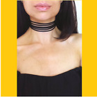 Womens Sexy Wide Tie Neck Choker Multilayer Leather Necklace