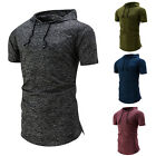 Mens Stylish Slim Casual Tee Sport Hooded Hoodie T Shirt Short Sleeve Shirt Tops