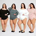 WOMENS LADIES  Plus-Sized KNIT LOUNGEWEAR SUIT JUMPER TOP AND SHORT JOGGING TS22